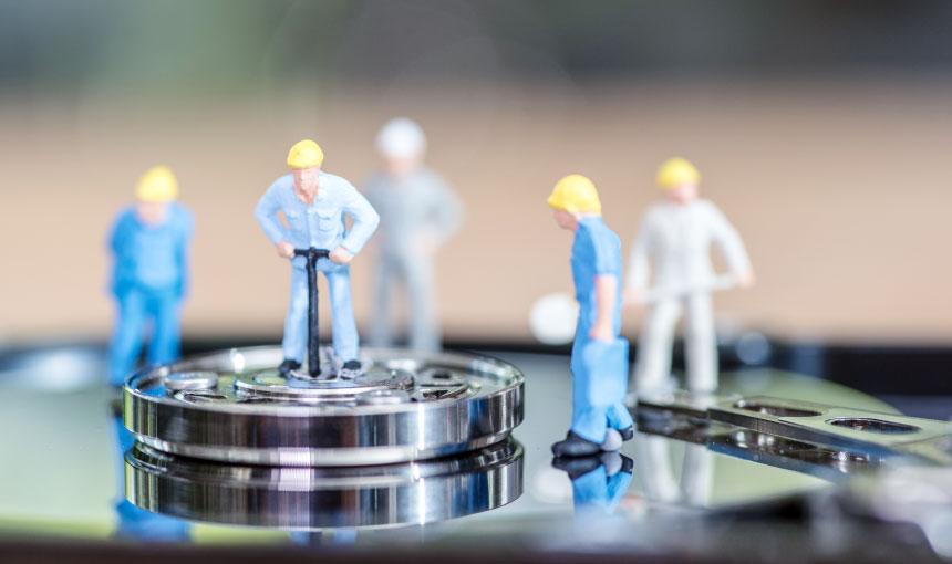 Data recovery technicians at work