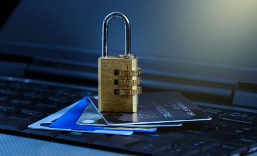 Computer security padlock on laptop